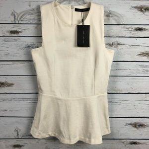 NWT Zara small white sleeveless ruffle shirt